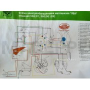 "Схема электрооборудования мотоцикла ""Ява"" 559/07. 360/00"" (6v)"